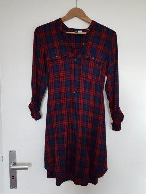 H&M Abito blusa camicia rosso mora-blu scuro