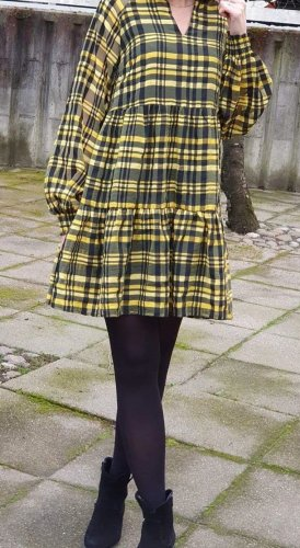 Kariertes Mini Gesmoktes Kleid von YAS, Gr. S (36-38) Stufenkleid