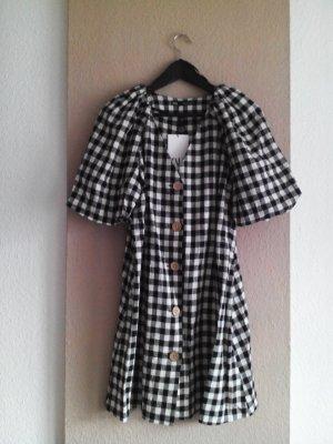 kariertes Minikleid in schwarz-weiss aus Leinen und Viskose, Grösse S, neu