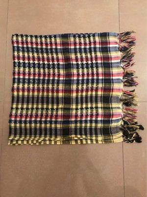 Kariertes quadratisches Tuch mit Fransen