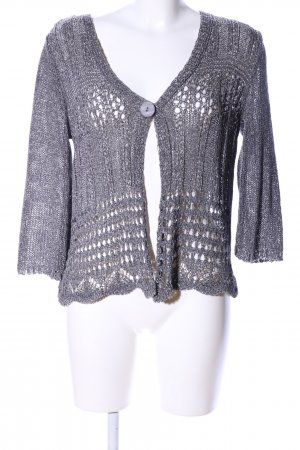 Karin Hertz Short Sleeve Knitted Jacket light grey flecked business style