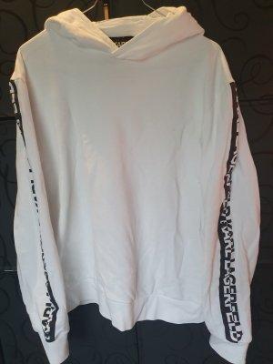 Karl Lagerfeld Sweter z kapturem biały-czarny