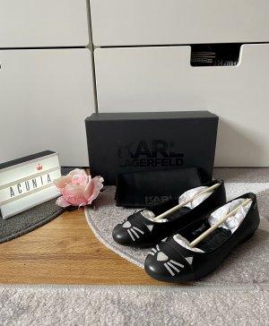 Karl Lagerfeld Ballerina's met kant zwart