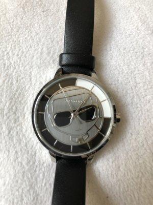 Karl Lagerfeld Horloge met lederen riempje zwart