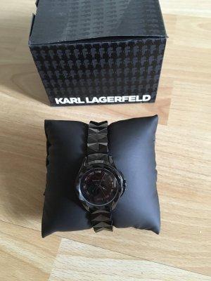 Karl Lagerfeld Horloge met metalen riempje zwart