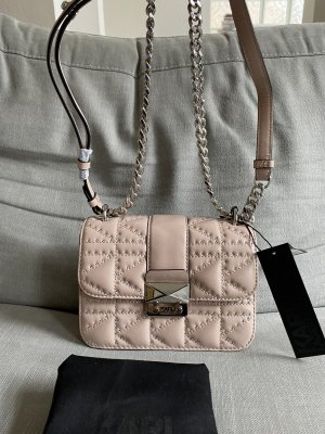 Karl Lagerfeld Designer Tasche Kuilted Logo Stepp Rosa Leder Neu OVP