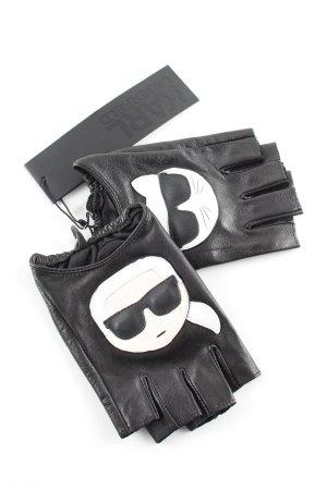 Karl Lagerfeld Handschoenen zonder vingers zwart-wit prints met een thema