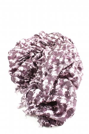 Karl Lagerfeld Fringed Scarf lilac-white themed print casual look