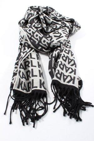 Karl Lagerfeld Bufanda de flecos negro-blanco letras impresas look casual