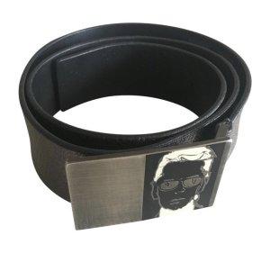 Karl Lagerfeld Lederen riem grijs-zilver