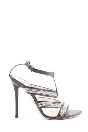 Karl Lagerfeld High Heel Sandaletten schwarz-silberfarben Glanz-Optik