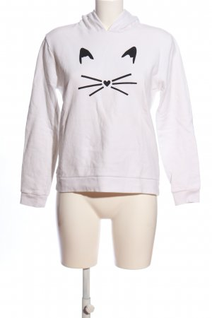 Karl Lagerfeld Kapuzensweatshirt weiß-schwarz Motivdruck Casual-Look