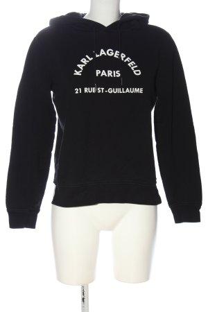 Karl Lagerfeld Sweatshirt met capuchon zwart-wit gedrukte letters