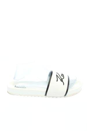 Karl Lagerfeld Komfort-Sandalen weiß-schwarz Schriftzug gedruckt Casual-Look