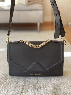 Karl Lagerfeld Leather Shoulder Bag Black