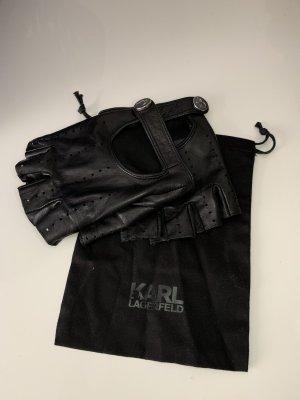 Karl Lagerfeld Leren handschoenen zwart-zilver Leer