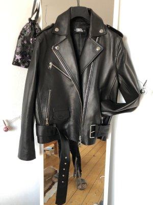 Karl Lagerfeld Chaqueta de motociclista negro-color plata
