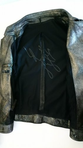 Karl Lagerfeld Leather Jacket silver-colored leather