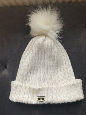 Karl Lagerfeld Knitted Hat white cotton