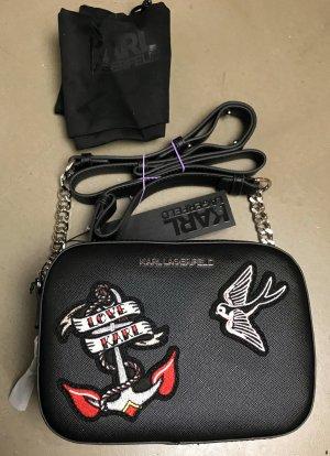 * KARL LAGERFELD * NEU ! kleine TASCHE Crossbody Saffiano Leder (imitiat) schwarz StickereiKe