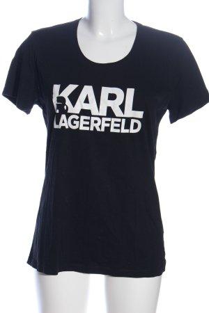 Karl Lagerfeld Print-Shirt blau-weiß Schriftzug gedruckt Casual-Look