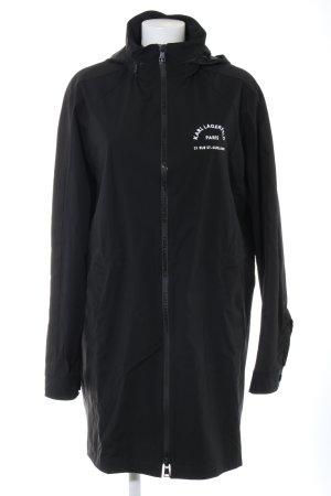 Karl Lagerfeld Manteau de pluie noir-blanc lettrage imprimé style décontracté