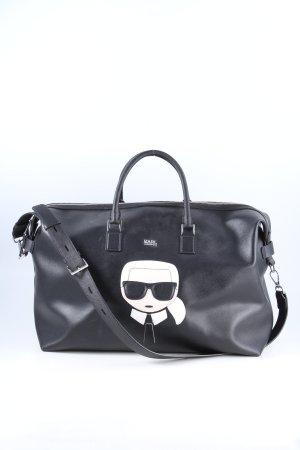Karl Lagerfeld Borsa da viaggio nero-bianco Stampa a tema stile casual