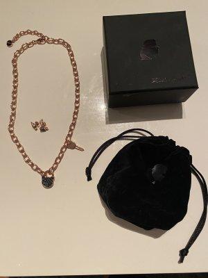 Karl Lagerfeld Naszyjnik w kolorze różowego złota-czarny