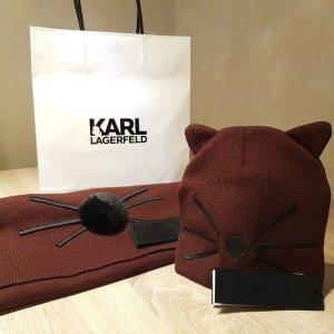 Karl Lagerfeld Schal Mütze Set dunkelrot
