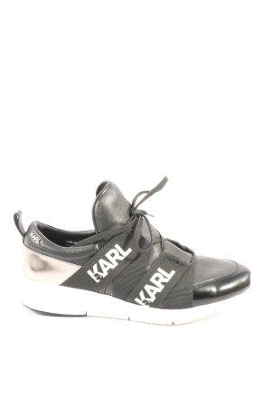 Karl Lagerfeld Schnürsneaker schwarz-weiß Schriftzug gedruckt Casual-Look
