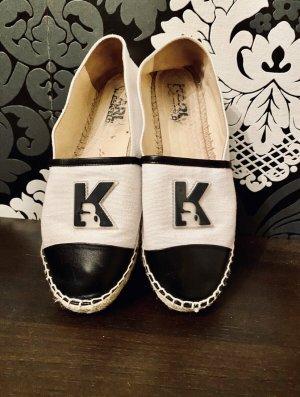 Karl Lagerfeld Schuhe Espadrilles schwarz weiß Leder & Stoff Gr 39