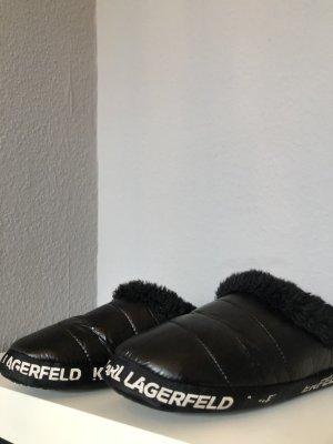 Karl Lagerfeld Pantoufles-chaussette noir-blanc