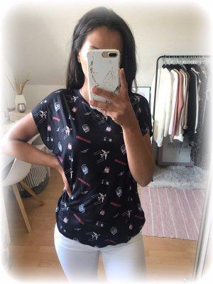 Karl Lagerfeld Shirt, fly with karl, choupette Katze, dunkelblau, xs
