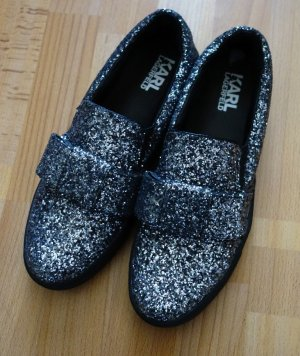 Karl Lagerfeld Slip-on noir-argenté cuir