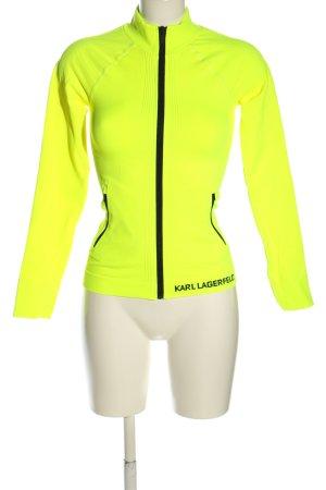 Karl Lagerfeld Sportjacke blassgelb-schwarz Schriftzug gedruckt Casual-Look