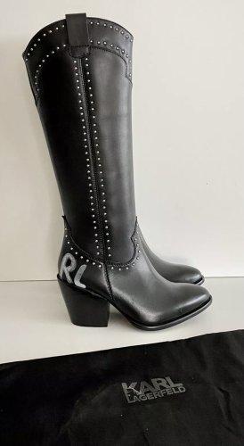 Karl Lagerfeld Buty w stylu western czarny Skóra