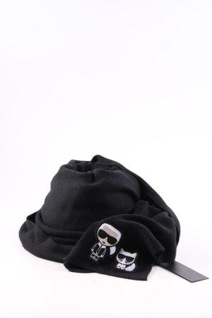 Karl Lagerfeld Strickschal schwarz Motivdruck Business-Look