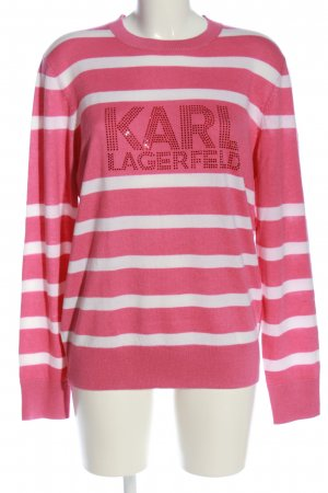 Karl Lagerfeld T-shirts en mailles tricotées rose-blanc lettrage imprimé