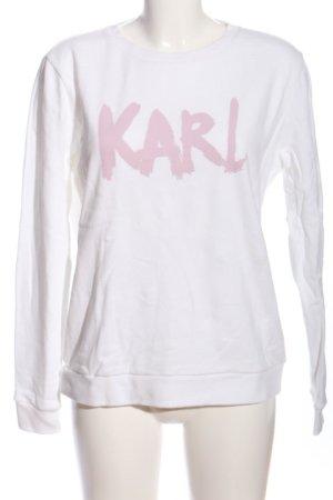 Karl Lagerfeld Sweatshirt weiß-pink Schriftzug gedruckt Casual-Look