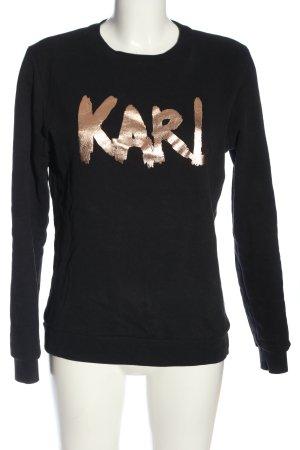 Karl Lagerfeld Felpa nero-oro caratteri stampati stile casual