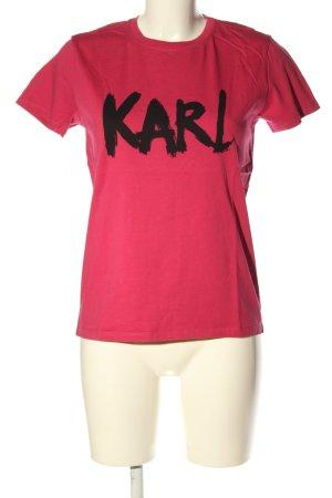 Karl Lagerfeld T-Shirt pink-schwarz Schriftzug gedruckt Casual-Look
