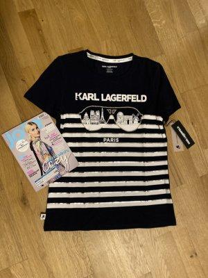 Karl Lagerfeld T-Shirt blau weiß silber - Neu - Gr. XS