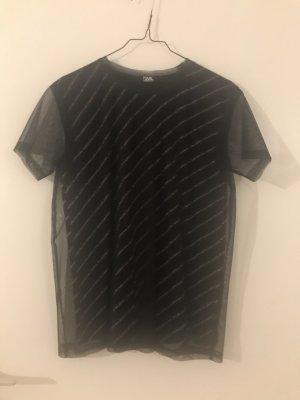 Karl Lagerfeld Maglia a rete bianco-nero Cotone