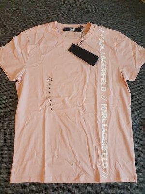 karl lagerfeld t-shirt Oberteil top rosa Weiß gr. s