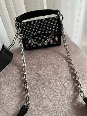 Karl Lagerfeld Mini Bag black-silver-colored leather