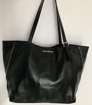 Karl Lagerfeld Bolso de compra negro-color plata Cuero