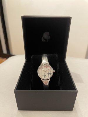 Karl Lagerfeld Horloge met lederen riempje zilver-lichtgrijs