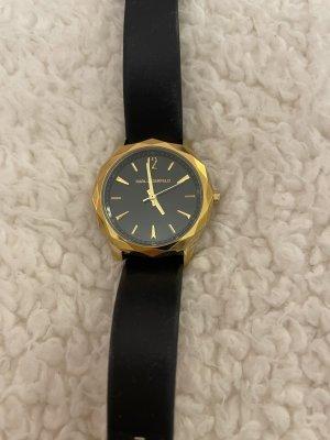 Karl Lagerfeld Zegarek ze skórzanym paskiem czarny-złoto