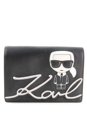 Karl Lagerfeld Umhängetasche schwarz-weiß Motivdruck Casual-Look