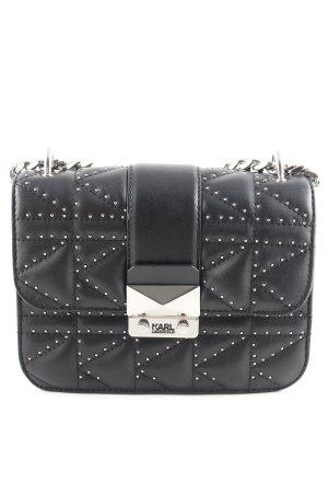 Karl Lagerfeld Umhängetasche schwarz-silberfarben Punktemuster Business-Look